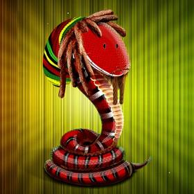 Концепция и персонаж Змеич для открытки к году Змеи